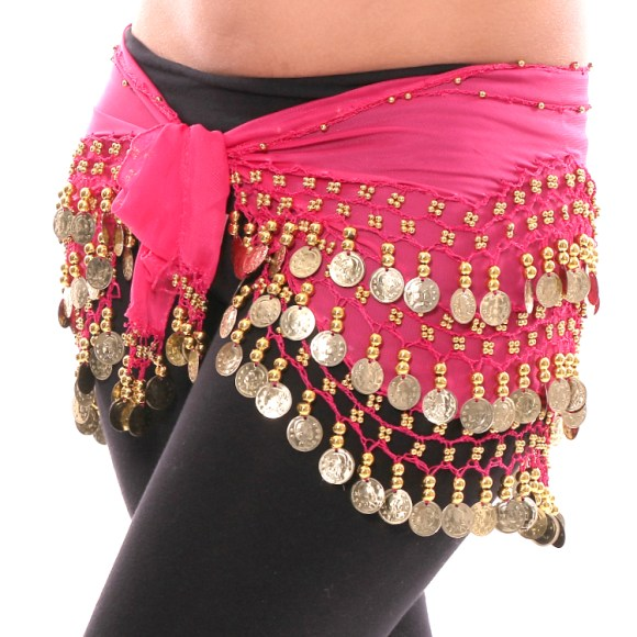 Rose Pink Hip Scarf with Gold Coins on Bellydance.com