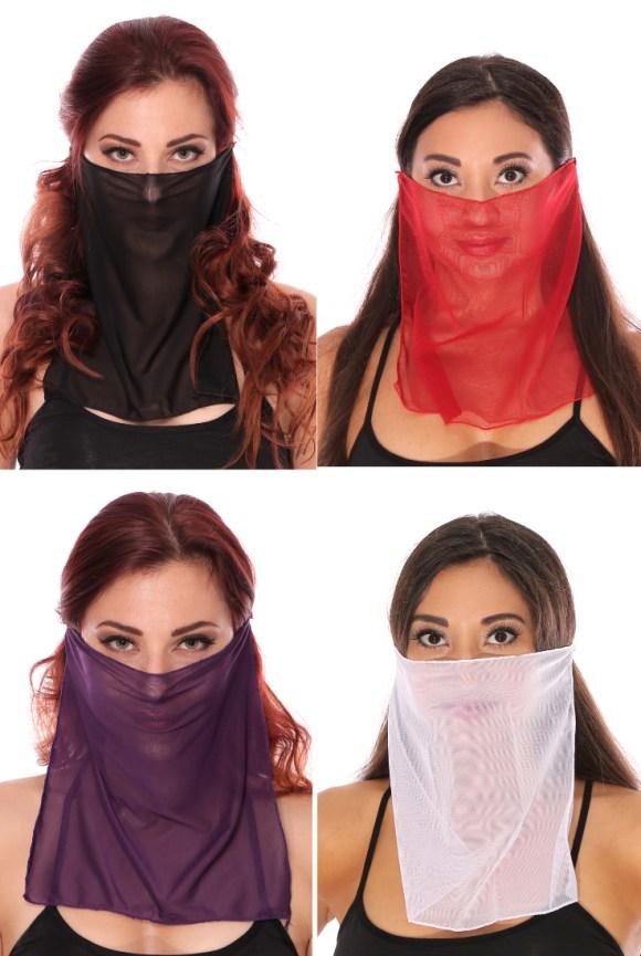 Mesh Face Veil for Belly Dancer or Harem Costume - ASSORTED