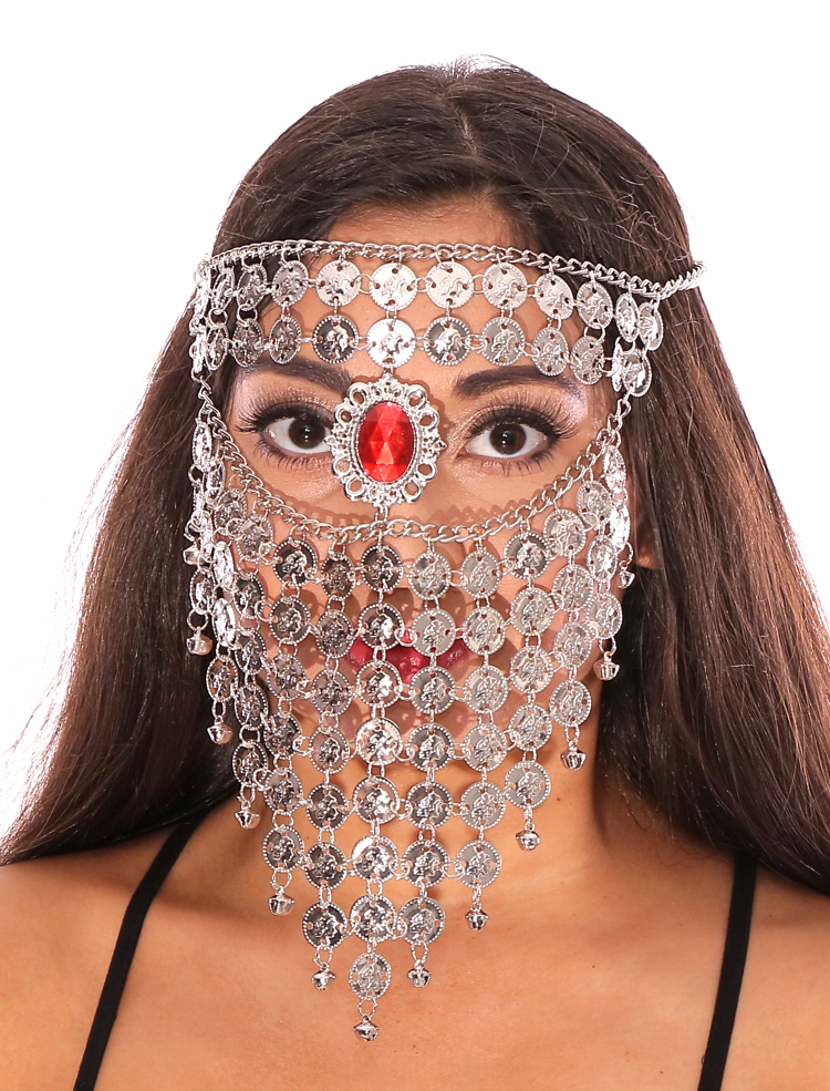 Bedouin Style Coin Belly Dancer Full Face Veil with Red ...
