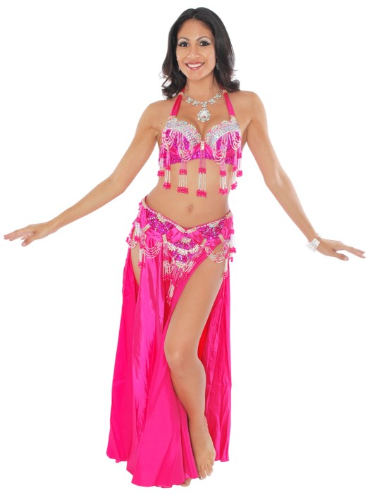 Professional Belly Dance Costume with Rhinestones & Fringe ...