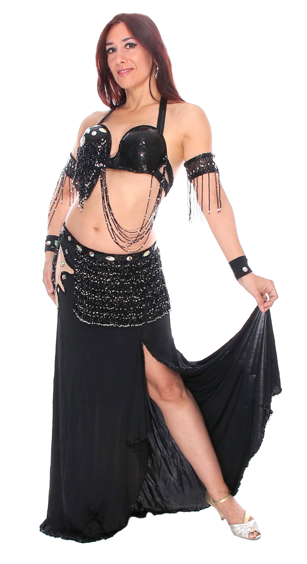 Professional Asymmetric Black Belly Dance Costume from ...