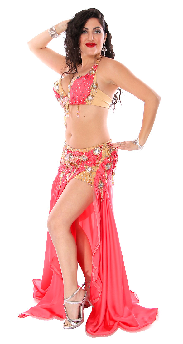 Professional Belly Dance Costume in Coral | Cairo ...