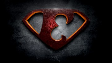 """The letter E in the style of """"Man of Steel"""""""