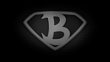 "The letter B in the style of ""Man of Steel"" - black and white texture version"