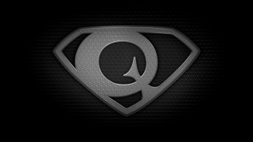 "The letter Q in the style of ""Man of Steel"" - black and white texture version"