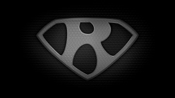 "The letter R in the style of ""Man of Steel"" - black and white texture version"