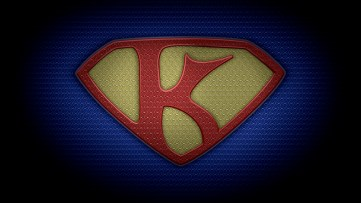"The letter K in the style of ""Man of Steel"" - color texture version"
