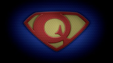 "The letter Q in the style of ""Man of Steel"" - color texture version"