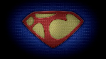 "The letter T in the style of ""Man of Steel"" - color texture version"