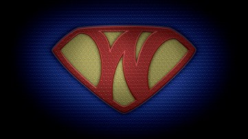 "The letter W in the style of ""Man of Steel"" - color texture version"