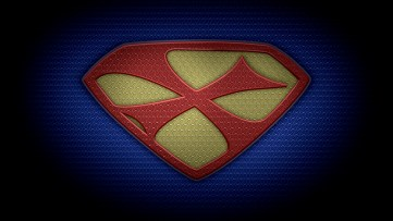 "The letter X in the style of ""Man of Steel"" - color texture version"
