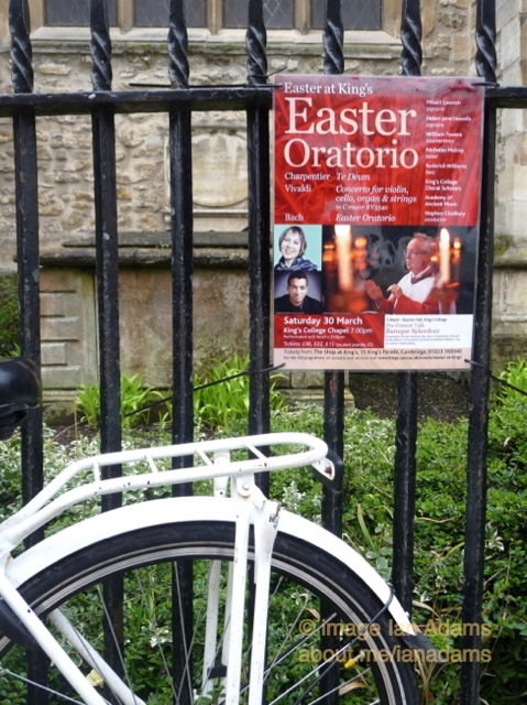 Easter Oratorio poster and bicycle - Cambridge, Passiontide 2013