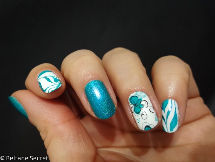 Nail Art Mix & Match A England Whispering Waves Opi Alpine Snow-11