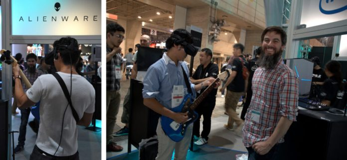 Harmonix developer, Daniel Chace, enjoying the event