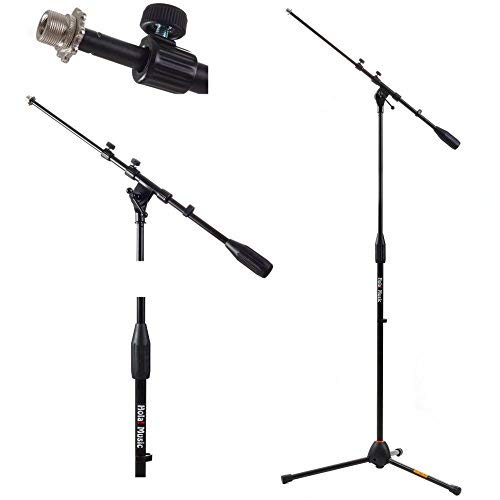 Hola! Music HPS-101TB Professional Tripod Microphone Mic Stand with Telescopic Boom, Black - Recording Studio - 1