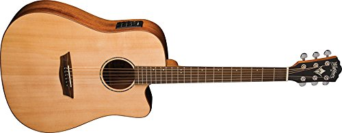 Washburn Solid Wood Series WD150SWCE Dreadnought Acoustic Electric Guitar, Natural - Recording Studio - 1
