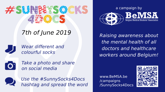 #SunnySocks4Docs poster with brief instructions: 1) Wear different and colourful socks 2) Take a photo and share on social media 3) Use the SunnySocks4Docs hashtag and spread the word