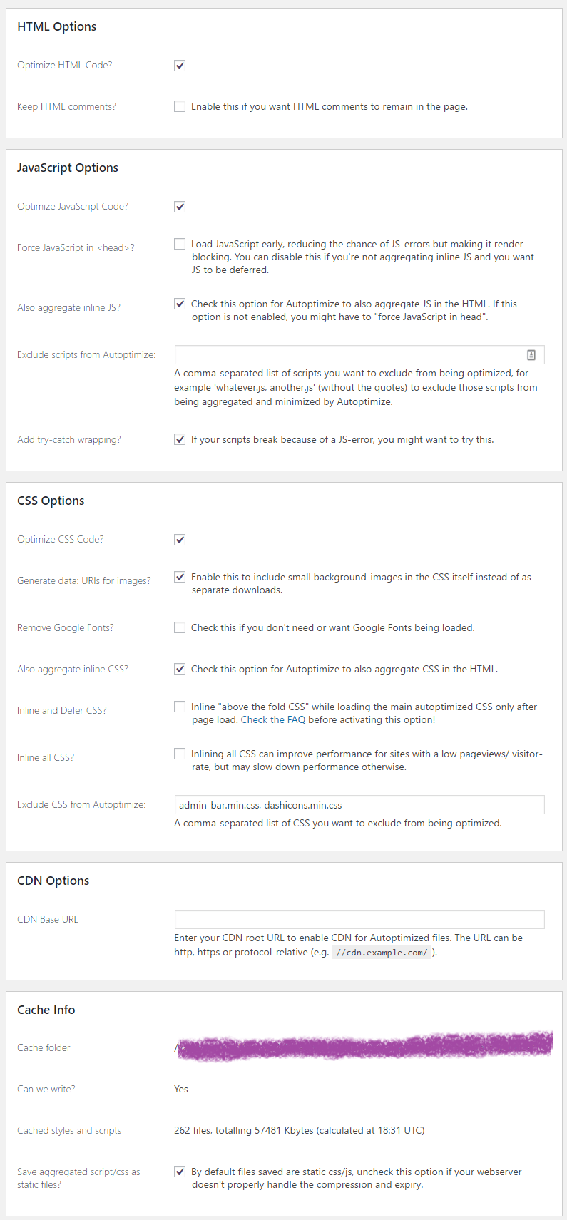 Autoptimize Plugin Settings