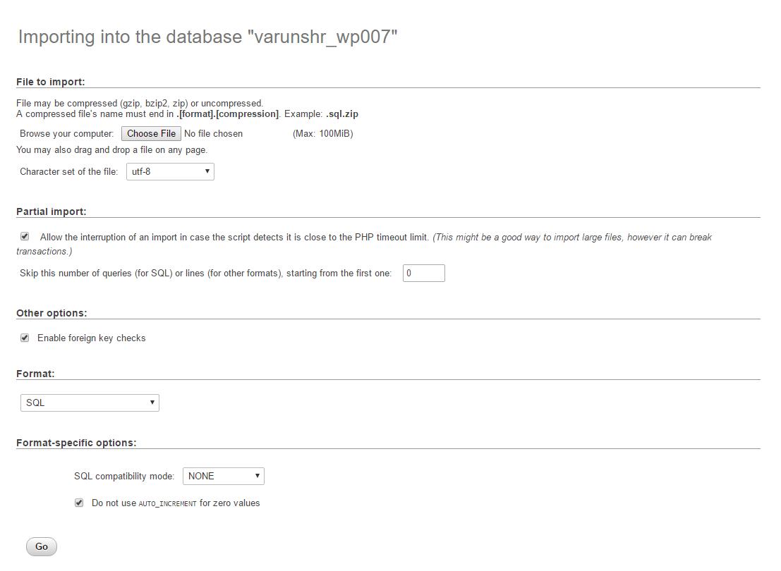 phpmyadmin sql import