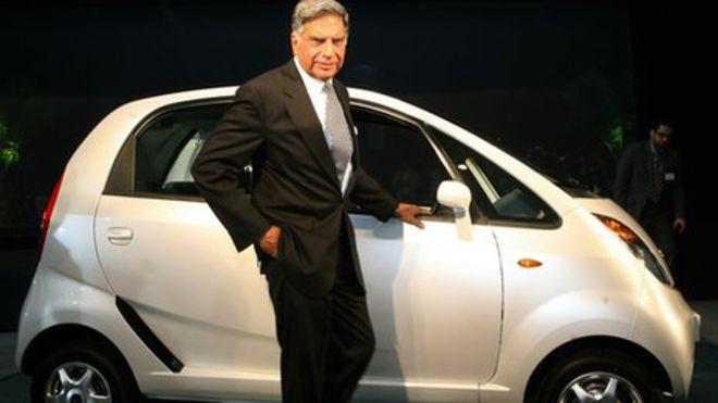 Ratan Tata posing with NANO