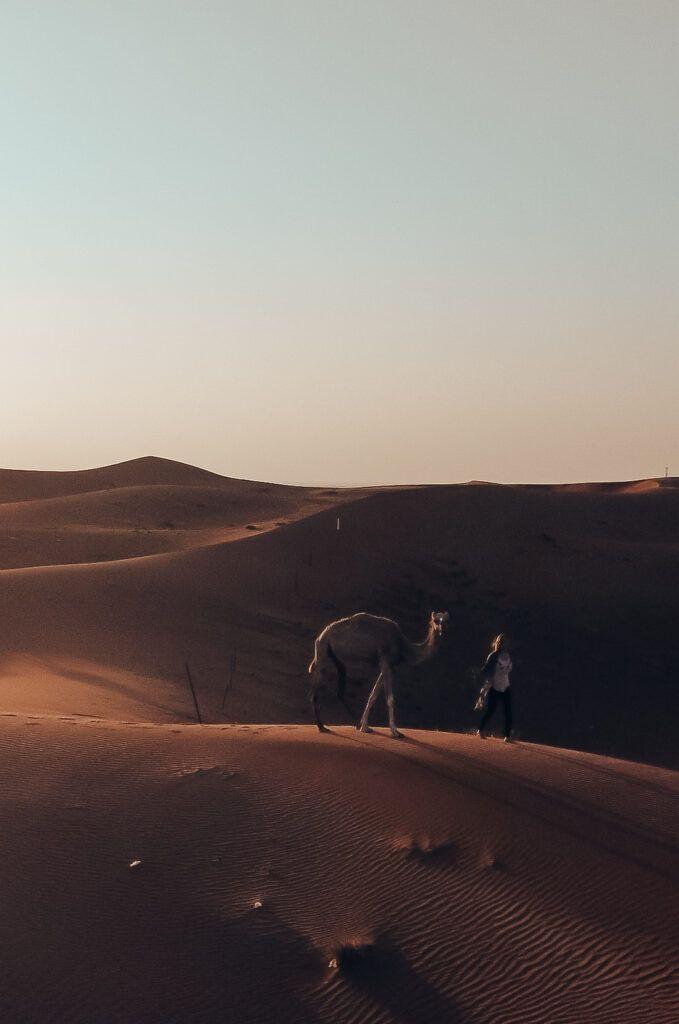 Solo female travel in the Dubai desert.