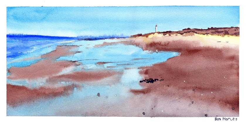 'West Beach: Lossiemouth' - watercolour landscape painting.