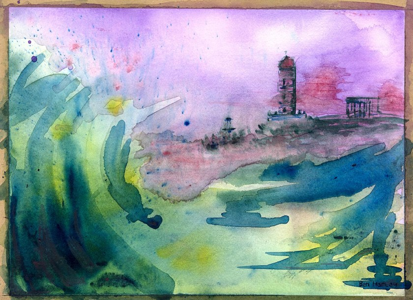 View From The Seat: wet-on-wet watercolour, loosely based on Calton Hill from Arthur's Seat.