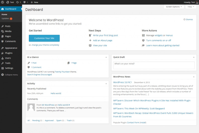 Wordpress dashboard after a fresh install.
