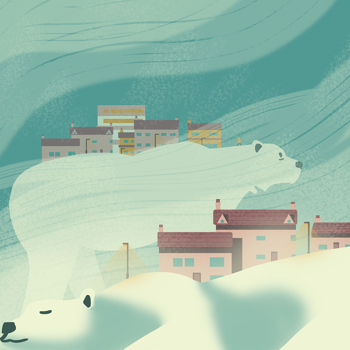 Illustration of polar bears amidst a snowstorm, carrying towns on their backs.