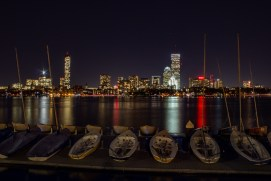 Boston Skyline and the Charles River at night
