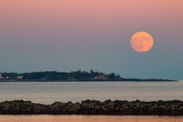 Harvest moon in Revere Beach in East Boston