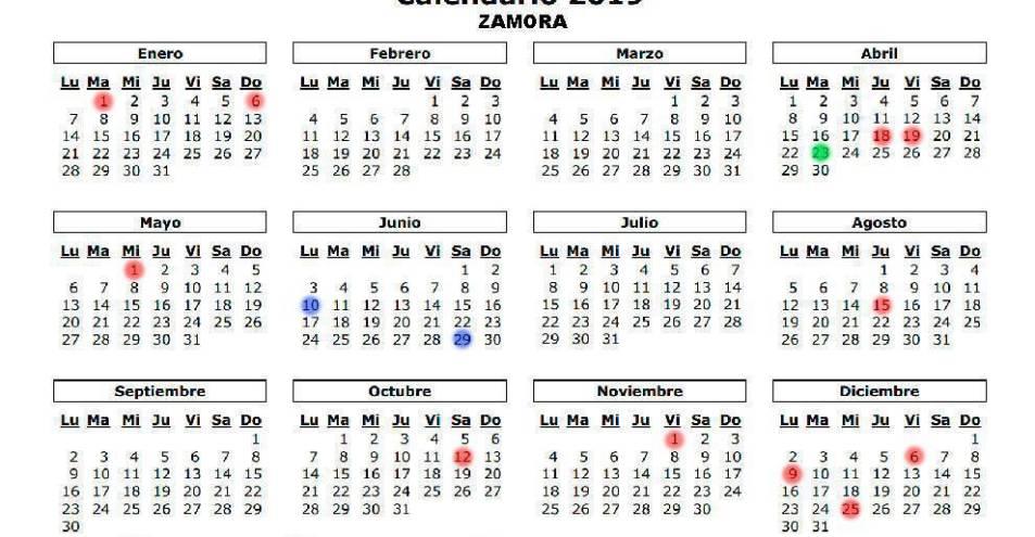 Calendario 2019 Agosto A Diciembre.Calendario De Festivos 2019 Para Benavente Y Zamora