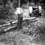 Harry Benbow preparing logs
