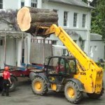 A JCB load-all lifting a section of trunk.