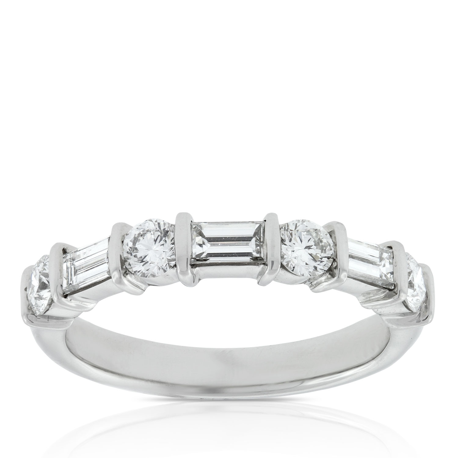 Baguette Amp Round Diamond Ring 1 Carat In Platinum Ben