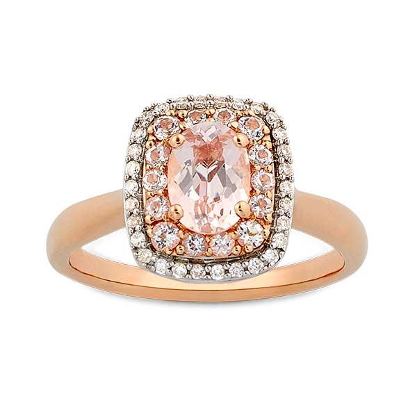 Rose Gold Morganite Amp Diamond Double Halo Ring 14K Ben