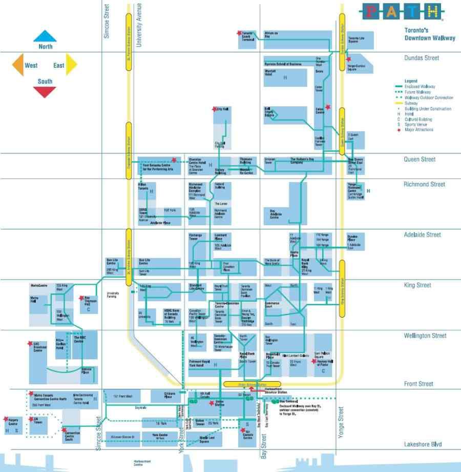 Toronto underground walkway map