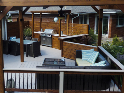 Outdoor dining and living areas