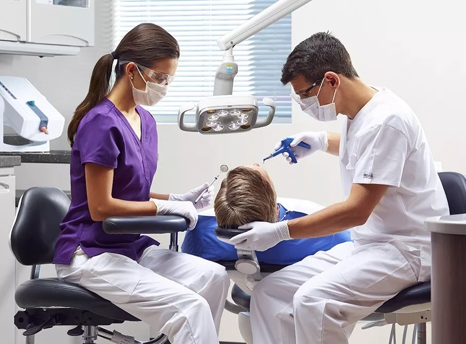 Dentist working on a patient