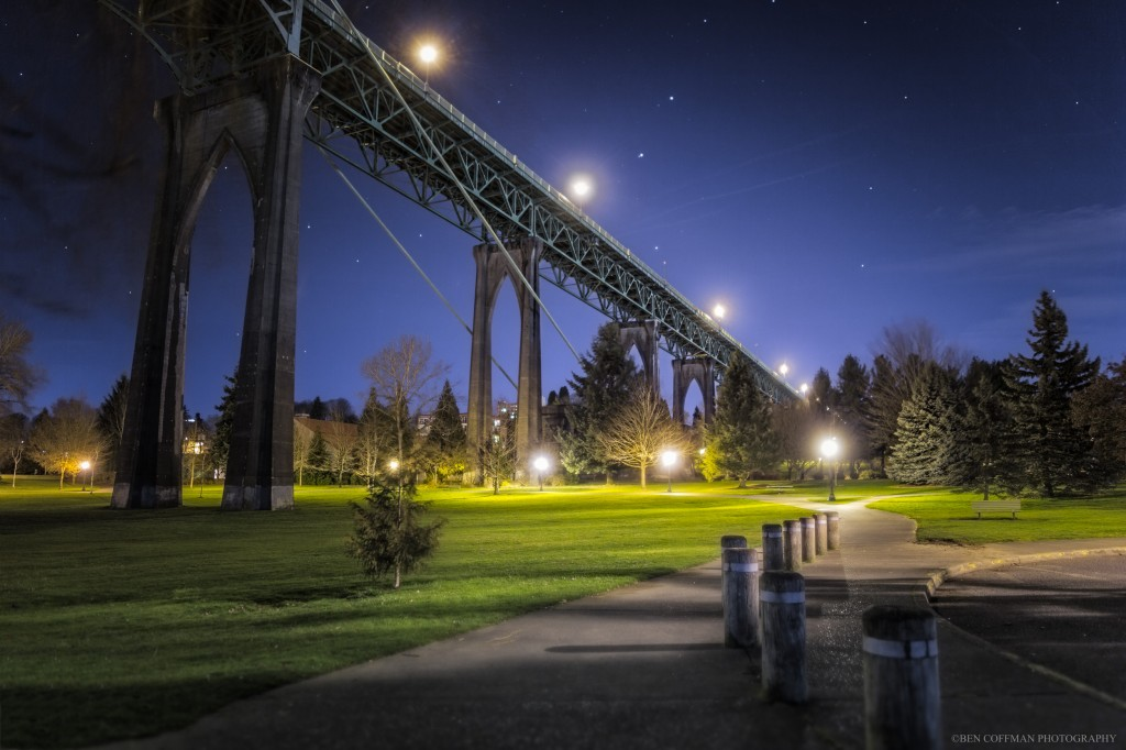 Portland's Cathedral Park, as seen in a night photo