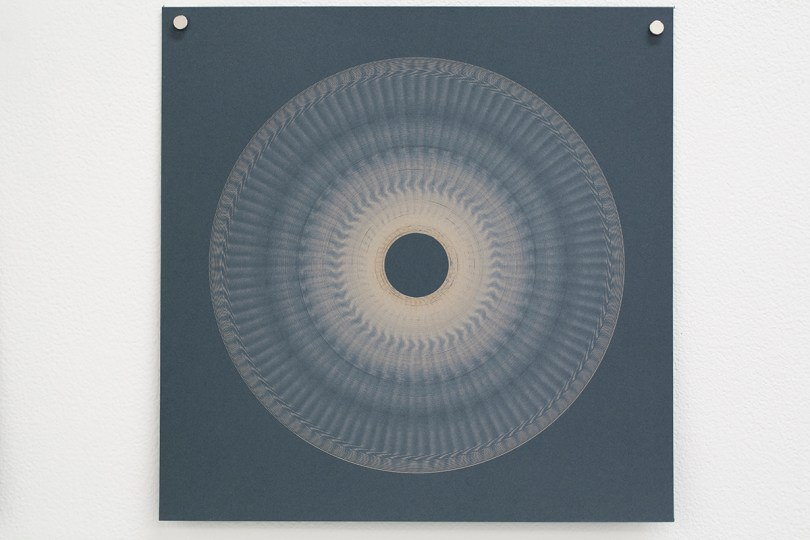 Variable speed spiral no. 8b (grey), 2016, 25x25cm, 445nm laser on paper.