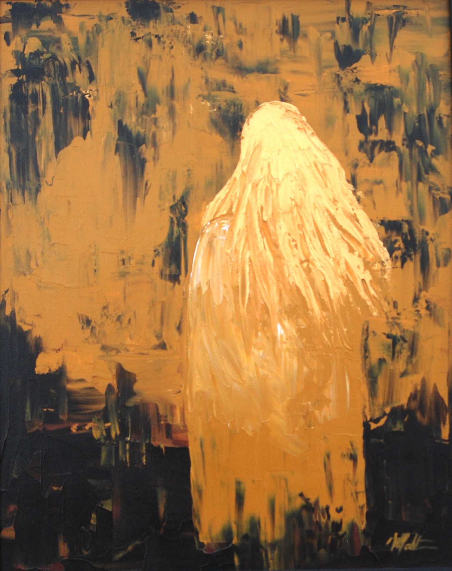 figure painting in gold, abstract artwork