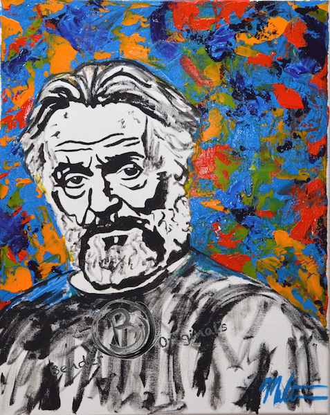 sketch of an older man against a colorful background by Bender Originals