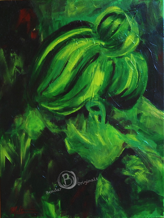 Abstract painting of a woman in green tones by Bender Originals