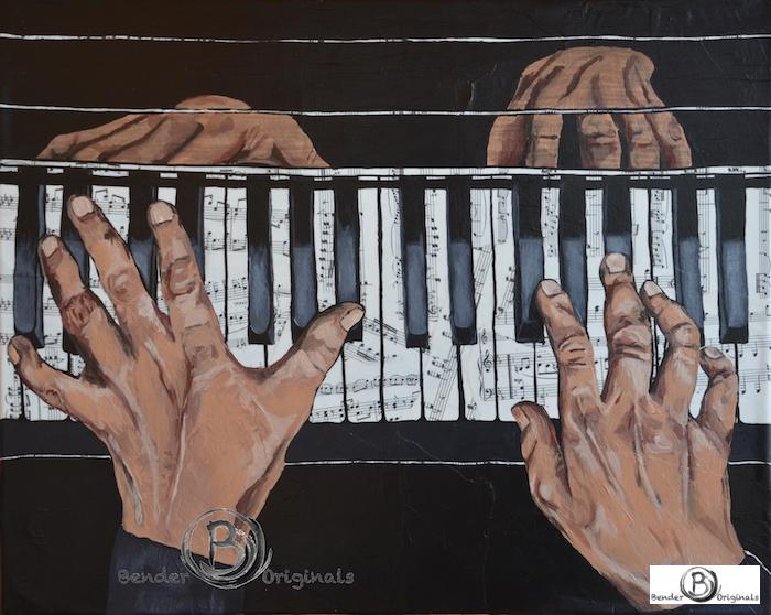 Painting of hands playing piano Bender Originals