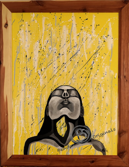abstract painting of a black and white figure of a woman