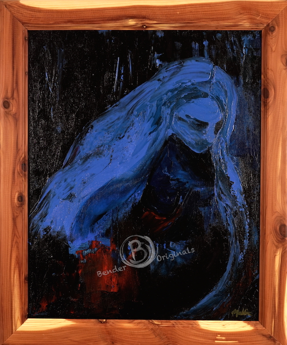 Abstract painting of a figure in blue in shadows by Bender Originals