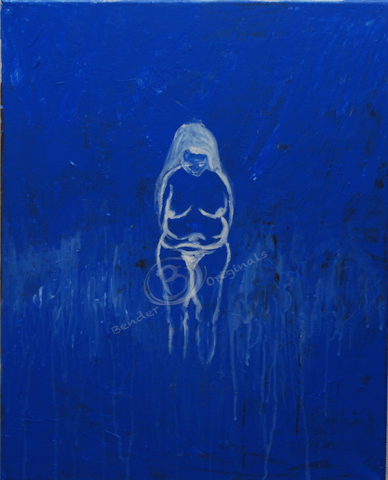 abstract painting of the figure of a woman on blue