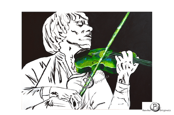 Man playing violin in green