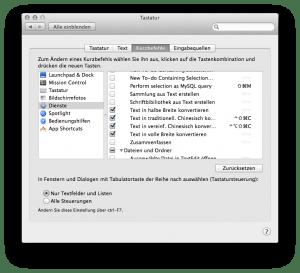 Dienste-Einstellungen unter OS X 10.9